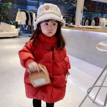 女童新年棉衣加绒加厚外套洋气中长款儿童羽绒棉服女宝宝棉袄冬装