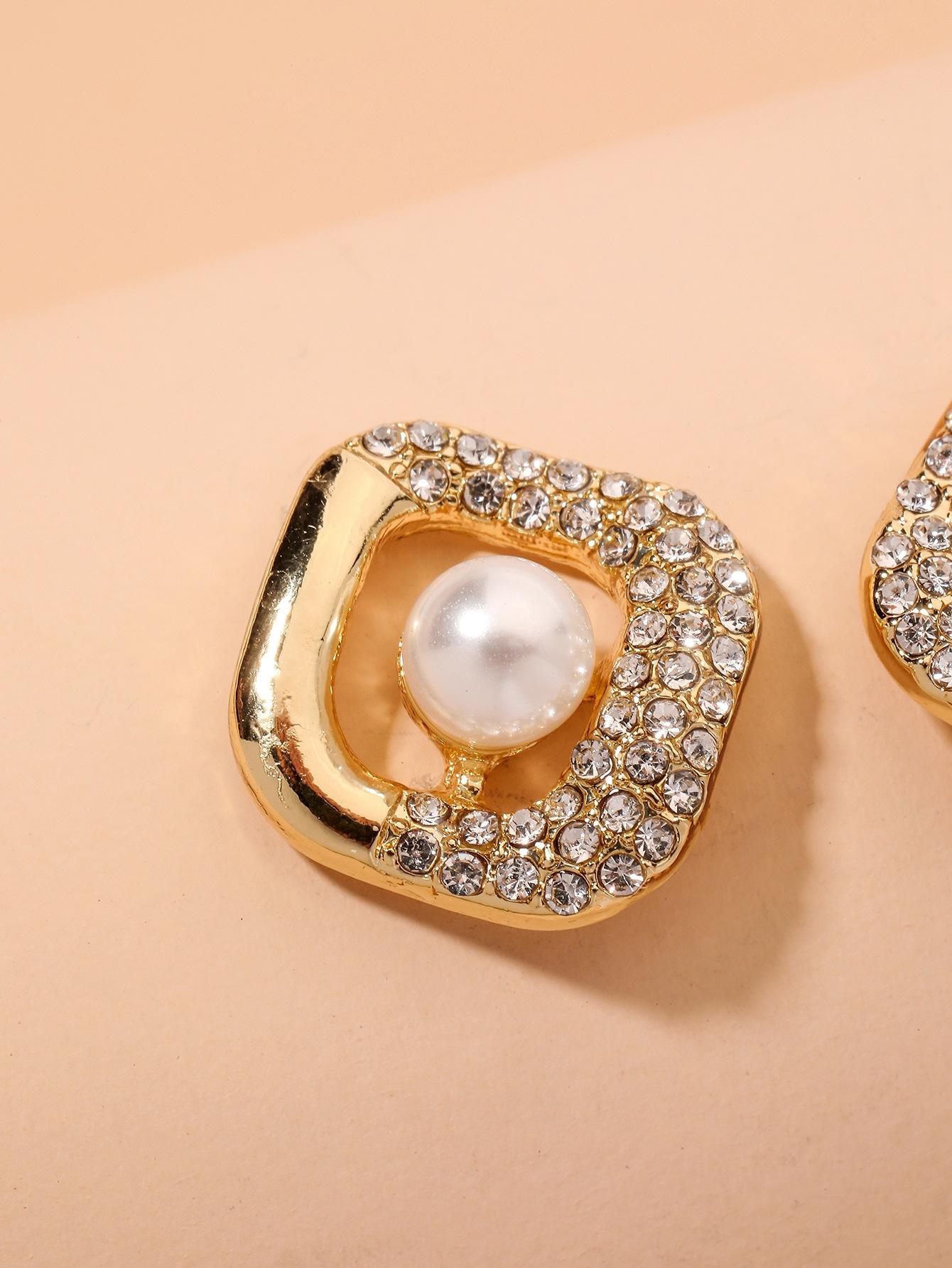 fashion diamondstudded square earrings NHNJ334715