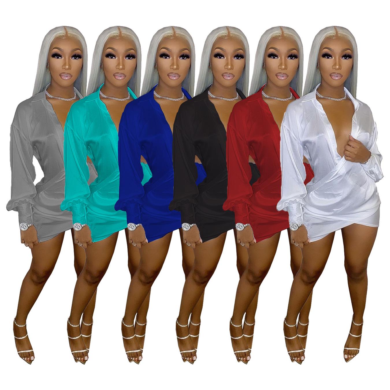 A5225 跨境2021 亚马逊欧美女装 性感夜店深V低胸礼服油丁连衣裙