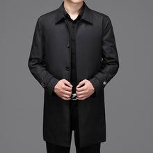 2021秋季新款男式單排扣風衣中老年男士翻領中長款男裝風衣外套