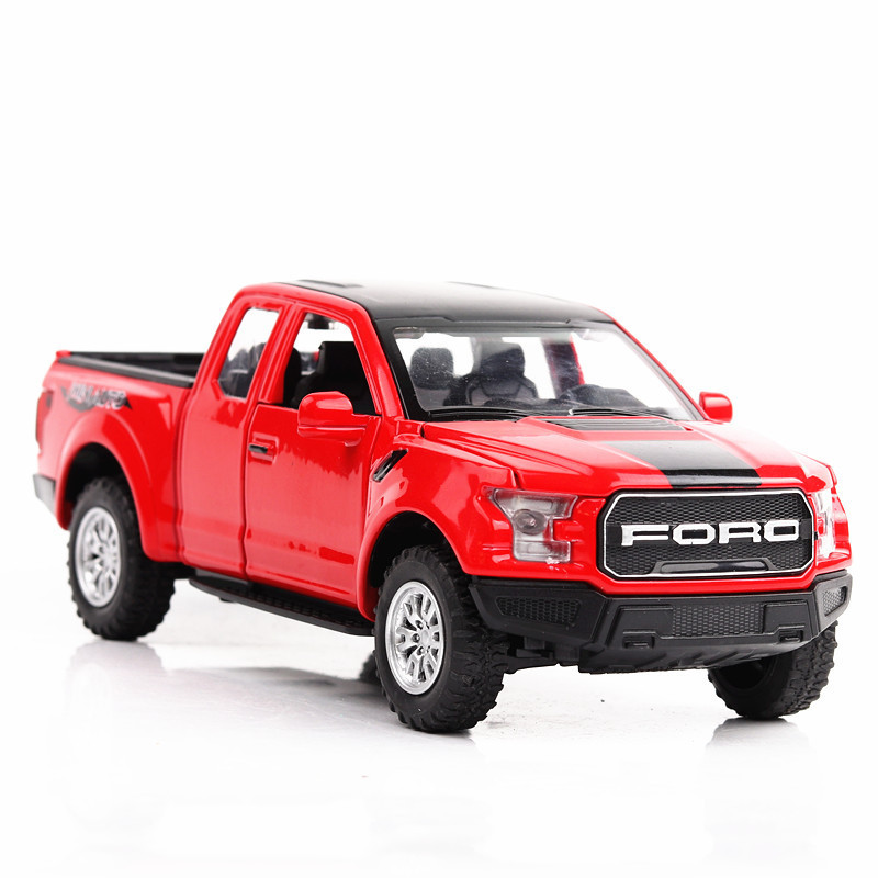 (散装)建元车模福特猛禽f150皮卡模型车声光回力车仿真模型越野