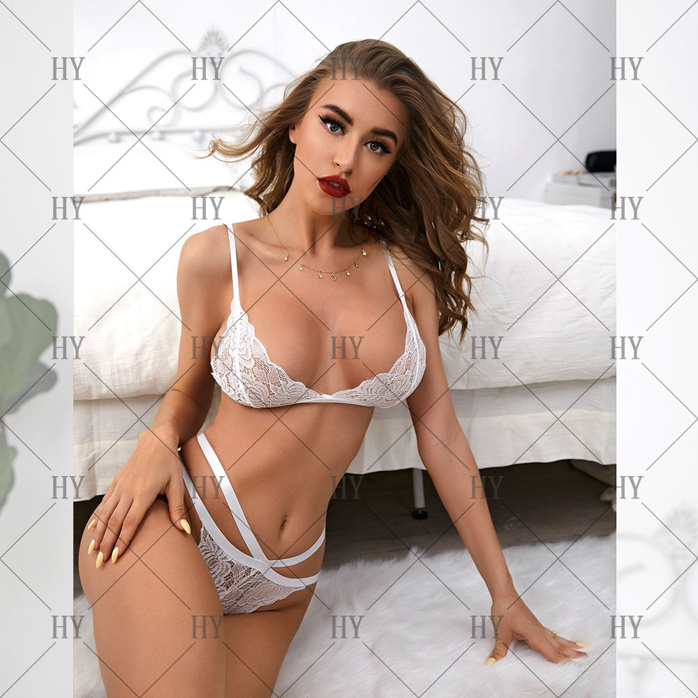 hollow perspective white lace three-point split underwear NSYO52161
