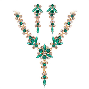 New European and American colored gemstone necklace and earrings two-piece set, wedding dress and dinner jewelry set in stock