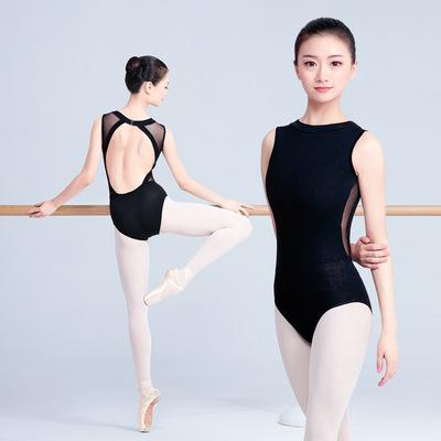 Adult ballet practice bodysuits for Female high-neck modern latin ballroom dance practice suit black Backless gymnastics one-piece training jumpsuits