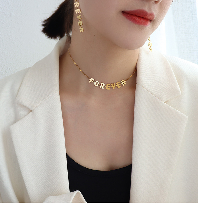 exaggerated style titanium steel English letters pendant necklace  earrings sets NHOK368121