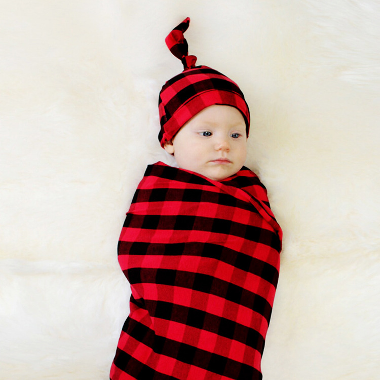 black and red plaid cloth quilt hat suit baby swaddle blanket NHWO442990