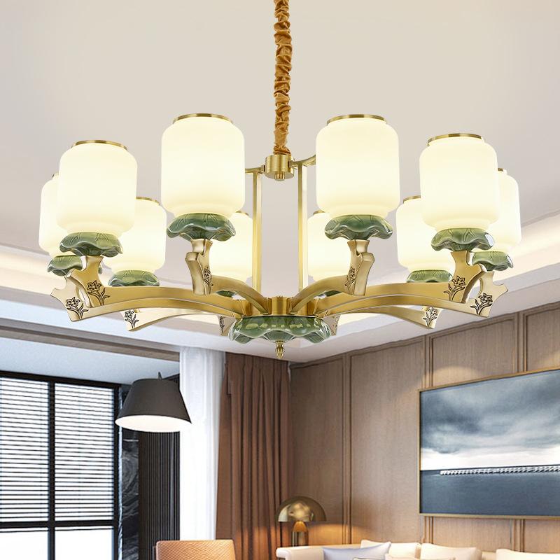 全铜新中式吊灯客厅灯中国风简约现代餐厅卧室灯书房大气禅意灯具