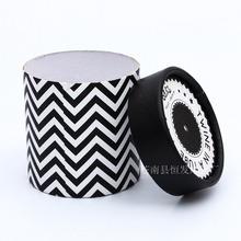 加工非直接接触食品 纸罐定制 加厚黑白糖果礼品纸罐 印刷包装