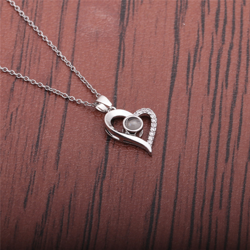 microinlaid zircon pendant heartshaped necklace NHYL324835