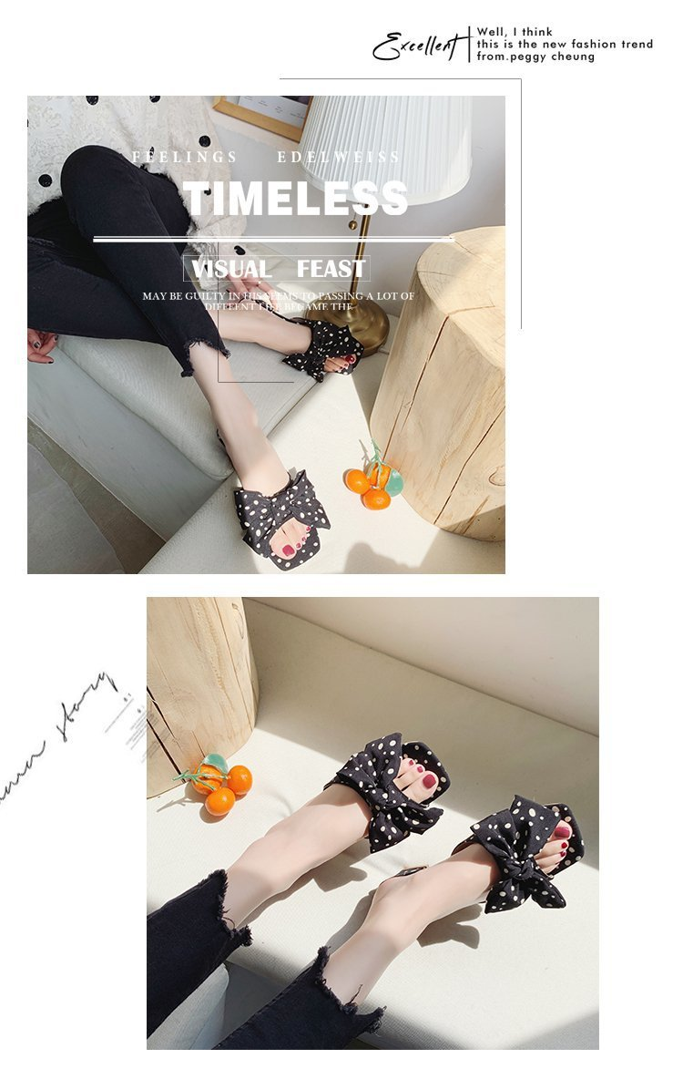 Fashion square root bow polka dots sandals wholesale NHPE337232