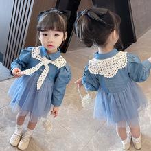女童春季连衣裙女宝宝长袖公主裙子2021新款洋气时尚儿童牛仔裙