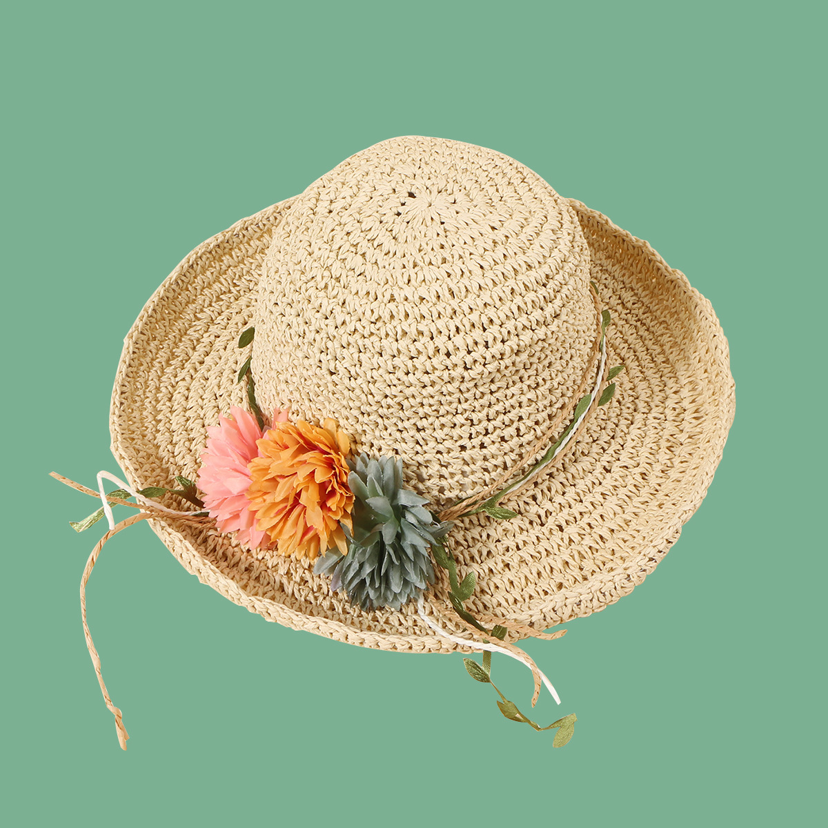 Fashion green leaf vine flower hand hook straw hat NHAMD335957