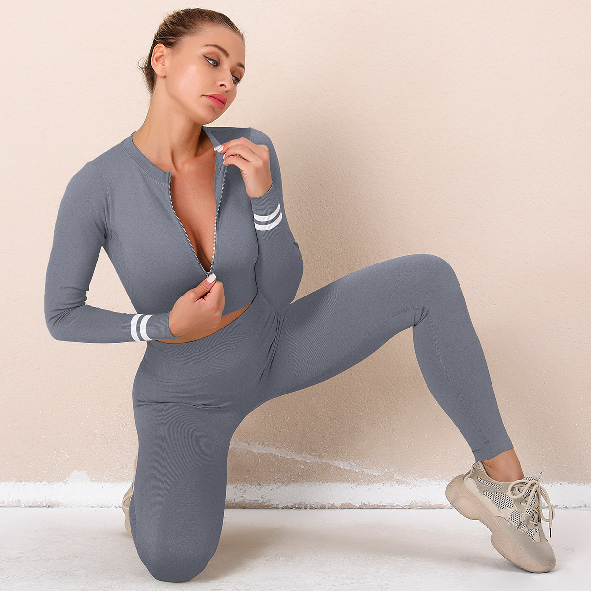 sexy long-sleeved zipper breathable tight-fitting yoga top & legging set NSNS52500