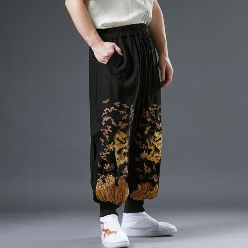 Men Golden Dragon pants lantern pants ramie embroidery loose waist pants