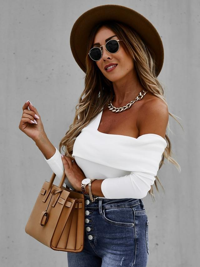 sexy strapless long sleeve solid color T-shirt  NSYD6952