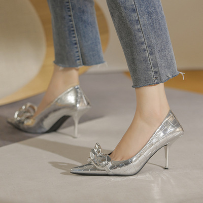 Women silver gold stage performancde High heel Female stiletto Shallow mouth European and American style chain fashion shoes