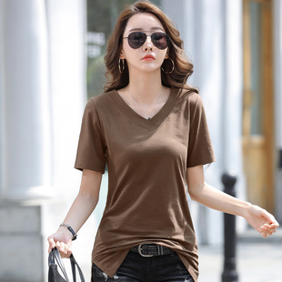 2021 fresh and sweet hedging slim-fit mid-length bottoming brown round neck short-sleeved cotton solid color bottoming shirt