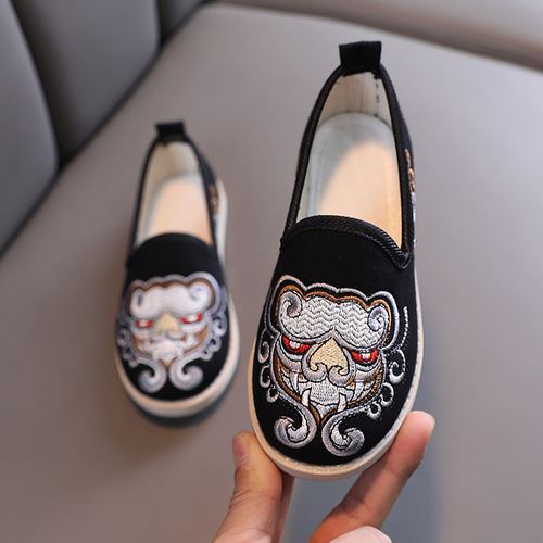Boys Kids Hanfu shoes Chinese style Han Tang costume cosplay Old Beijing baby embroidered shoes Chineses kungfu prince performance shoes
