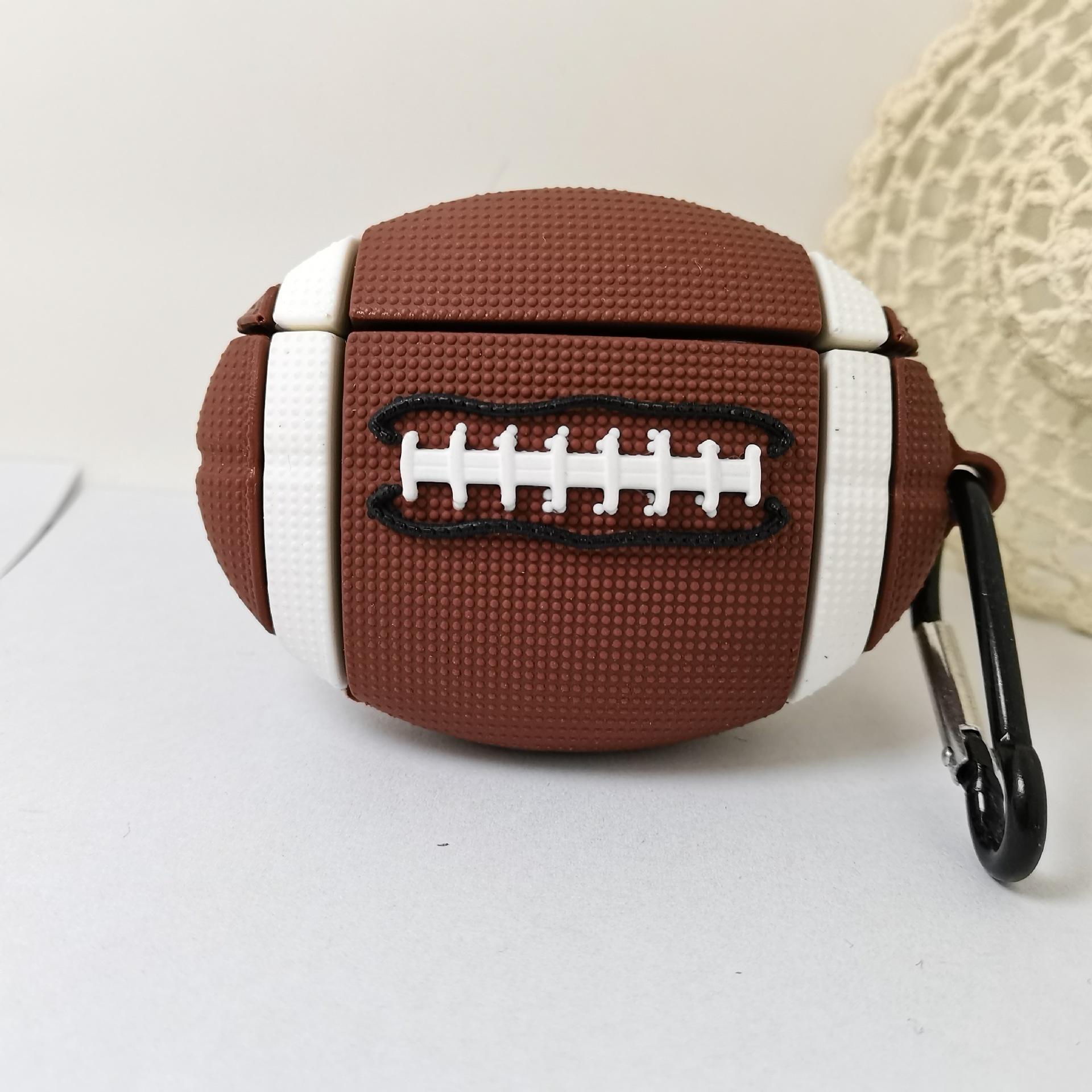 棕色橄榄球AirPods pro蓝牙耳机套适用苹果AirPods1/2//3代保护套