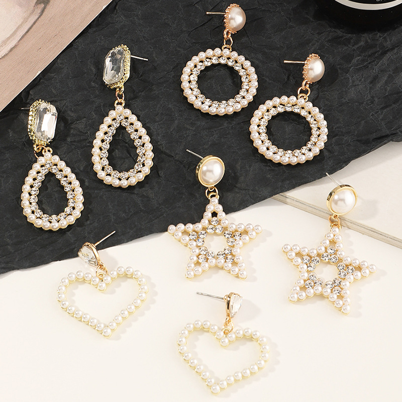 fashion round fivepointed star pearl earrings  NHNZ303735