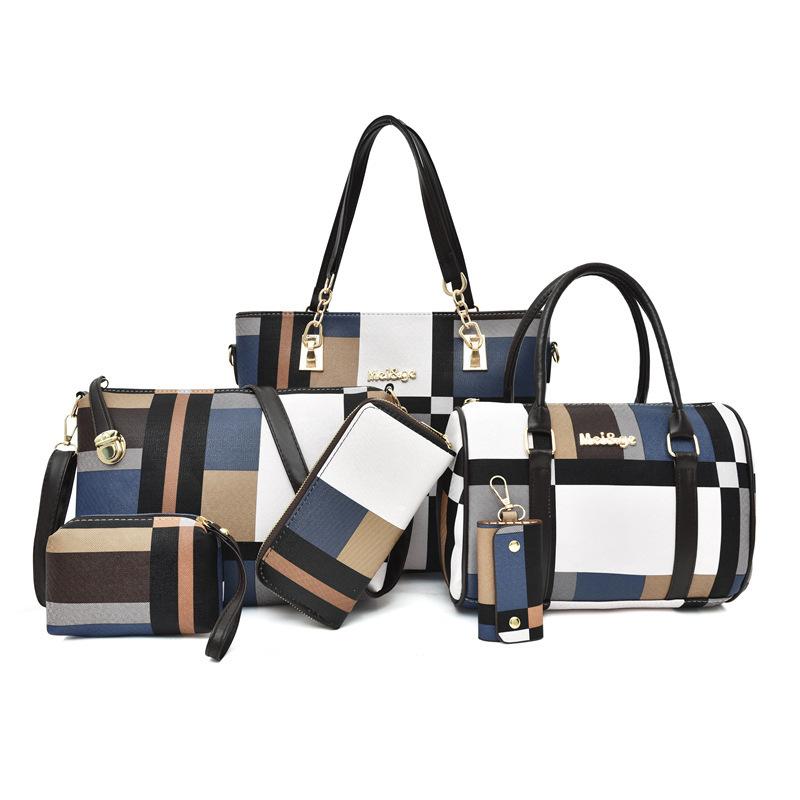 子母包六件套女包2020秋冬潮韩版大容量格纹包单肩斜挎简约手提包