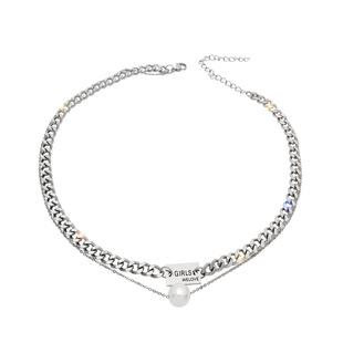 Double-layer pearl square necklace female ins tide temperament net red short clavicle chain niche design sense wild necklace