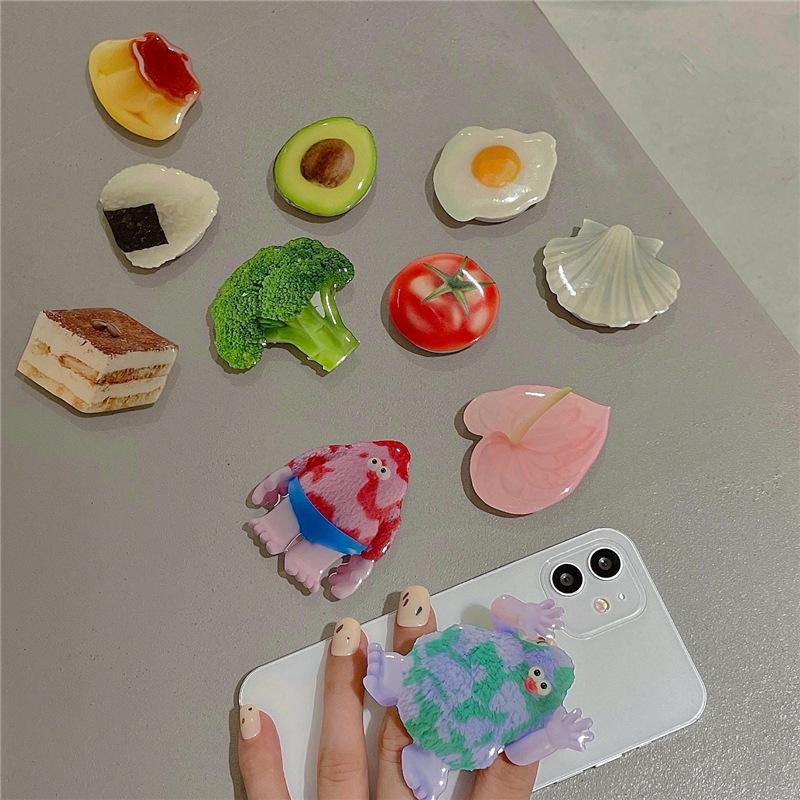 创意美食气囊支架新款网红可伸缩手机支架卡通贴片指环扣支架