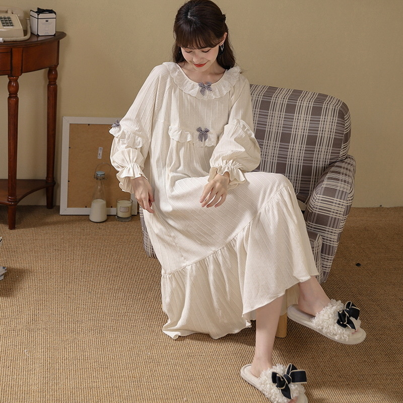 蒂茹欣睡衣女春秋冬季长袖睡裙公主风长裙宫廷风坑条女士家居服