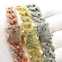 欧美嘻哈潮人古巴链12毫米满钻镶钻手链男女士hiphop镀金项链