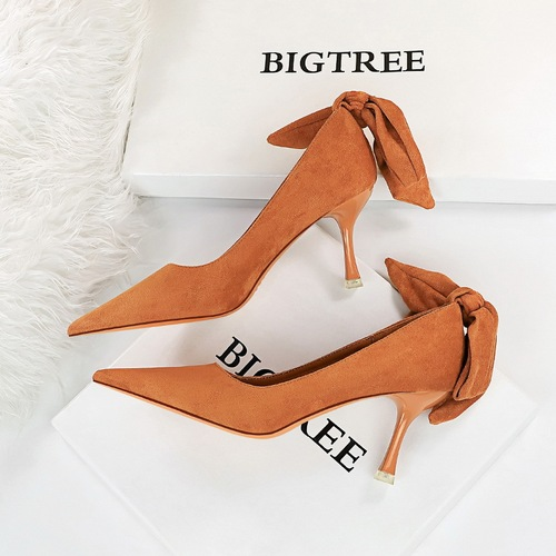 9671-A3 han edition high heel fashion shoes high heel with shallow mouth pointed bow after suede shoes