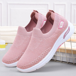 Shoes women spring new style 2021 foreign trade women's shoes casual mother shoes flying woven socks shoes soft sole sports shoes women