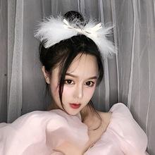 超仙气羽毛发夹韩国白色头饰网红同款边夹发卡唯美发夹顶夹发饰