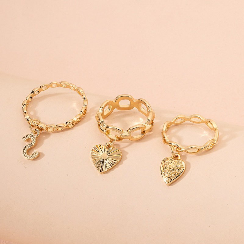 retro heart pendant zircon rings set NHAI298420