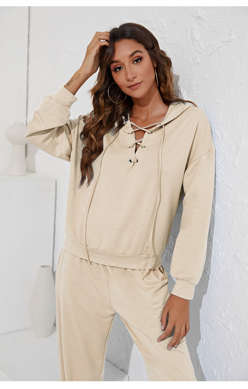 V-neck strappy hoodie and leggings two-piece set nihaostyles clothing wholesale NSGNX82783