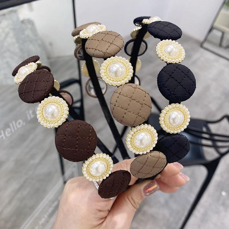 Korean grid square thin edge headband NHSM336346