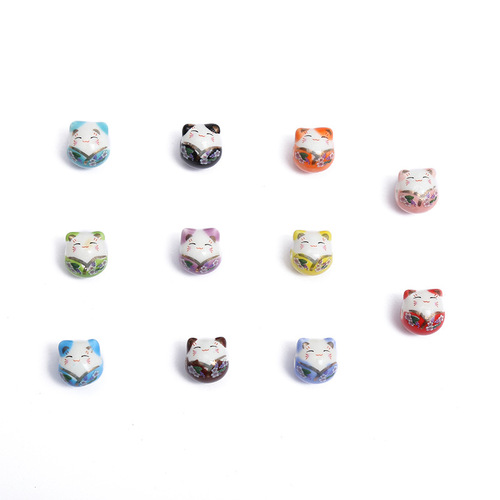 10pcs Japanese style painted ceramic lucky  Good wealth cat loose beads Handmade diy bracelet necklace beaded jewelry accessories