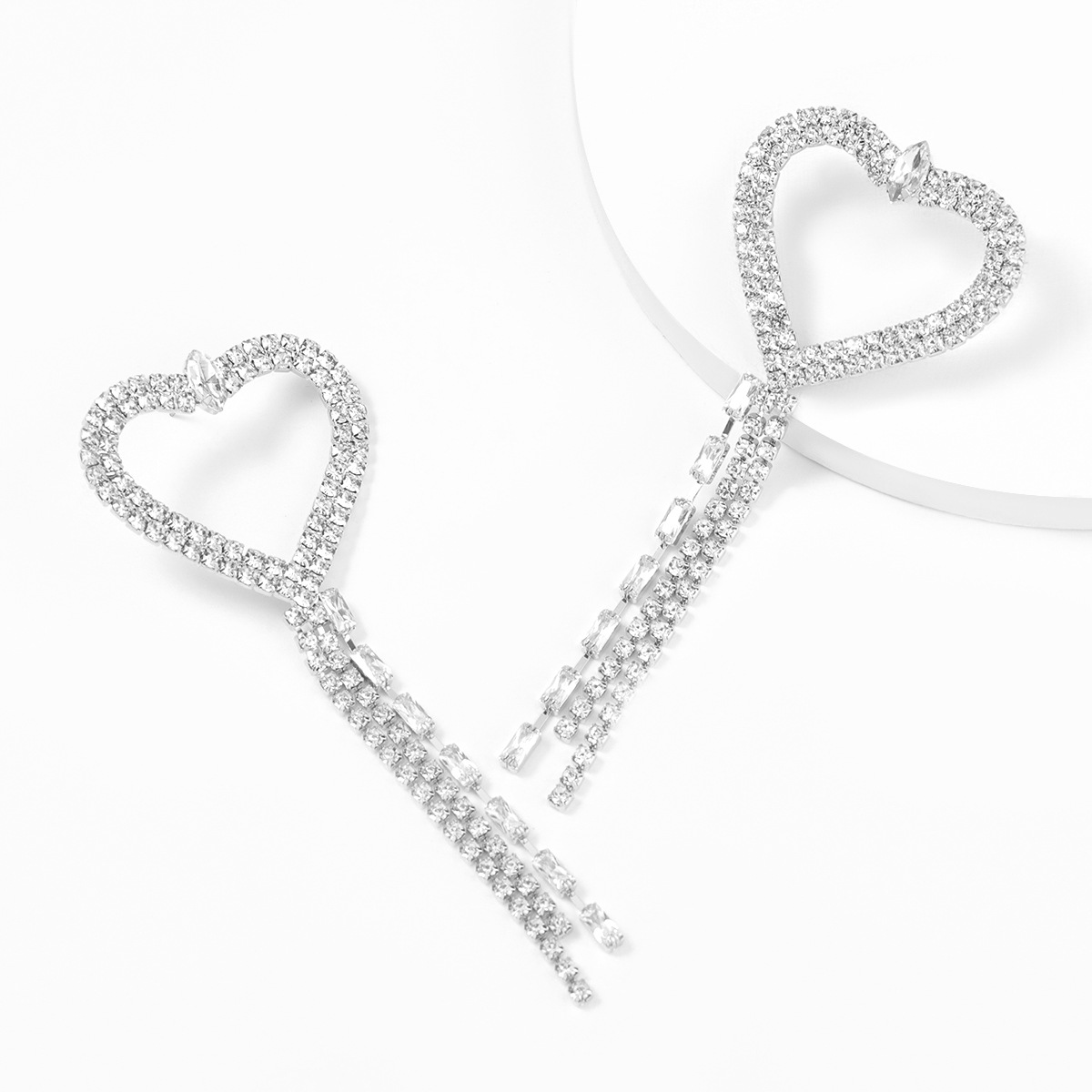 alloy diamond-studded heart-shaped tassel earrings  NHJE315585