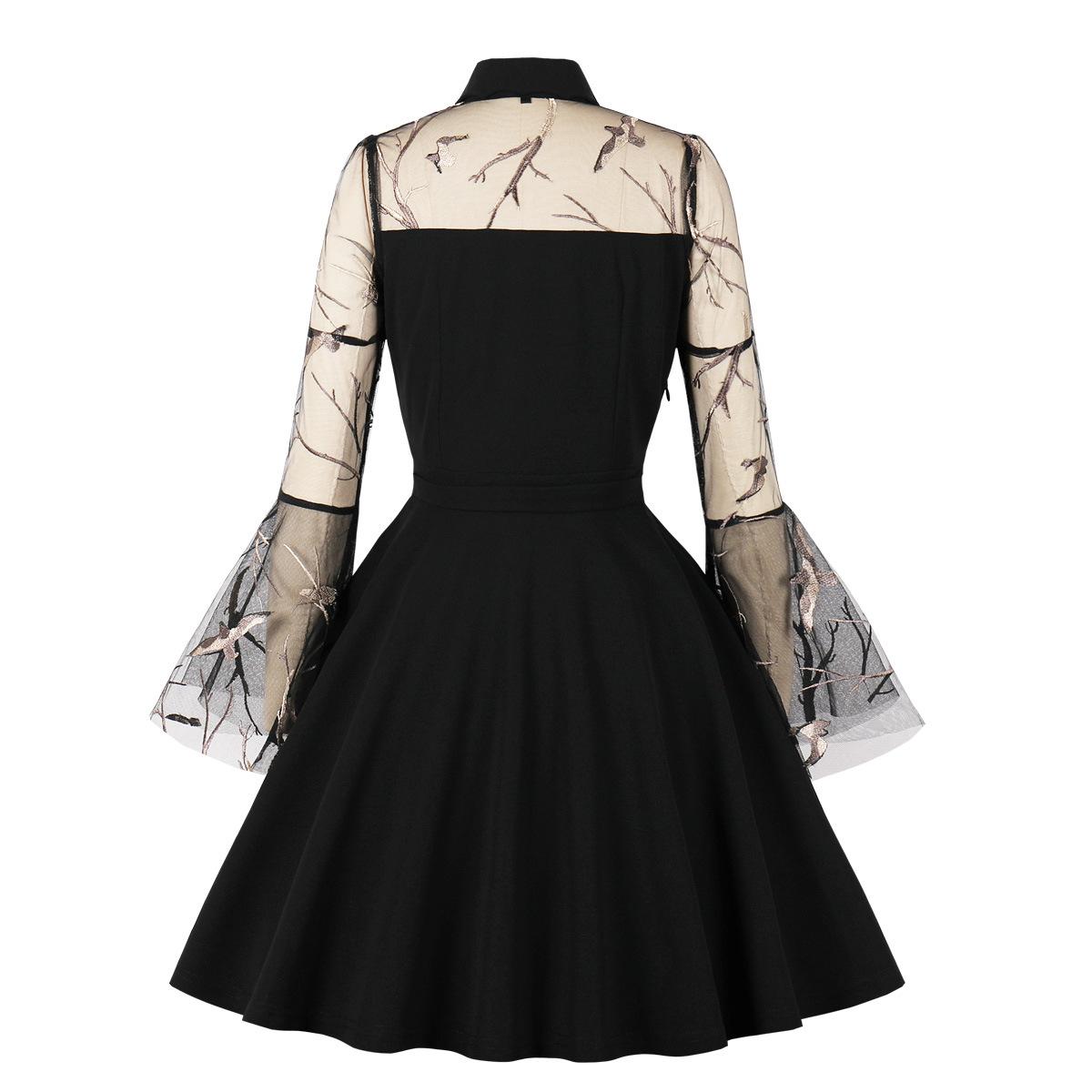 women's mesh embroidery trumpet sleeve stitching dress nihaostyles clothing wholesale NSMXN78855