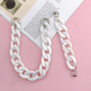 20201 new mobile phone case diy acrylic chain bracelet girl heart magic color hanging chain accessories material wholesale