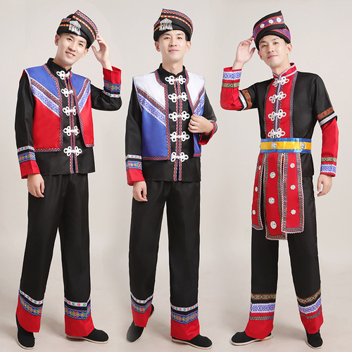 Minority costumes male Miao Zhuang Tu costumes Daliangshan Yi costumes adult