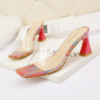 5569-2 han edition fashion peep-toe heels through clear thin and sexy sandals thick with web celebrity party sandals for women's shoes