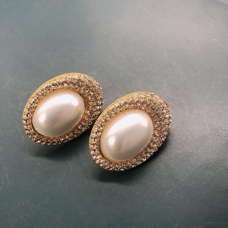 fashion white pearl retro water drop earrings NHOM322416