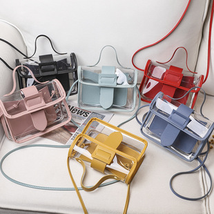 Ladies hand bag women's bag 2021 new hit color leather buckle transparent small square bag mini mobile phone bag