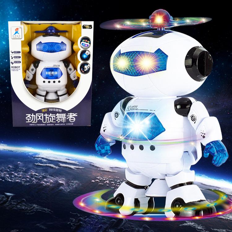 抖音网红玩具 夜市地摊玩具批发 电动跳舞机器人灯光音乐玩具男孩