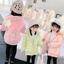 兒童棉服連帽加絨冬款韓版女童中長款棉襖中小童棉衣童裝代理加盟