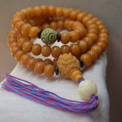 108 weathered yellow bodhi root necklaces  for women men Buddhist Bracelet Cotton Rope Type Bodhi Prayer Beads hand string