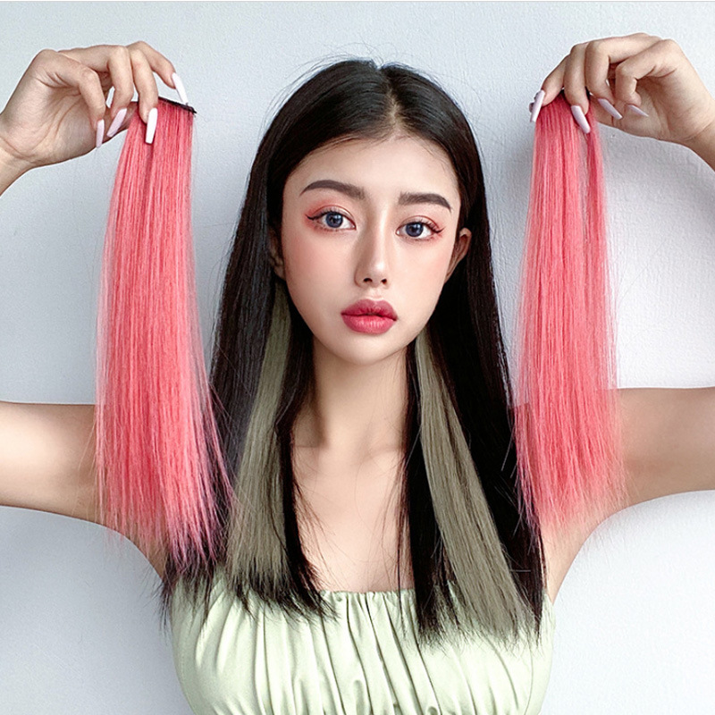 Wig piece hanging ear dyeing wig piece spot dyeing wig piece female short hair invisible wig one piece spot dyeing hair after ear