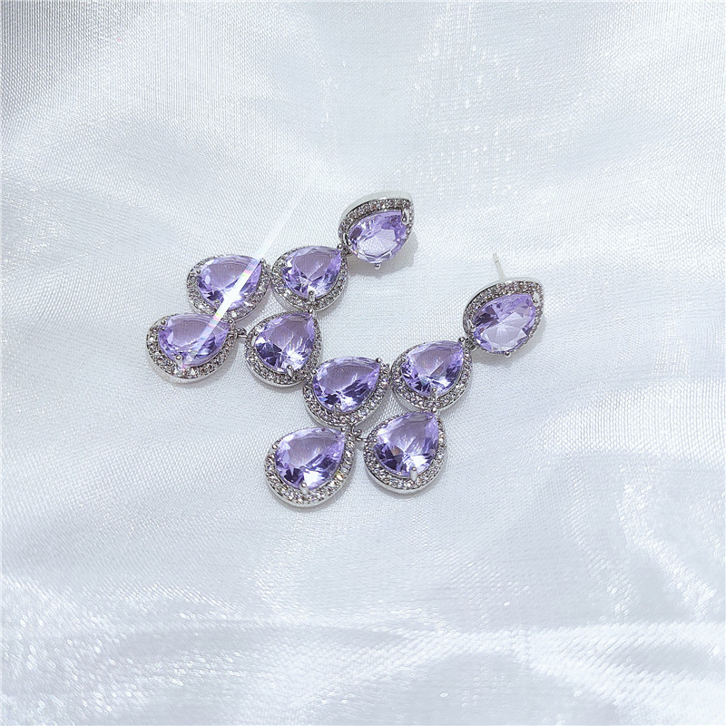 Water Drop Fashion Rhinestone Earrings  NHVA307840