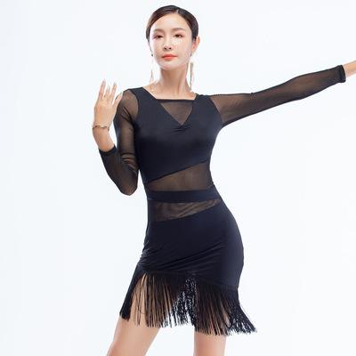 black long sleeves fringed Latin dance dress women tassel Cha Cha dance dress practice dress