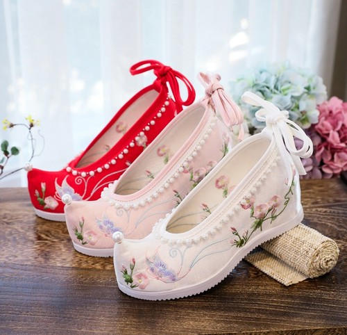 Ancient women girls hanfu tang dynasty princess fairy shoes Chinese empress film cosplay embroidered shoes for female